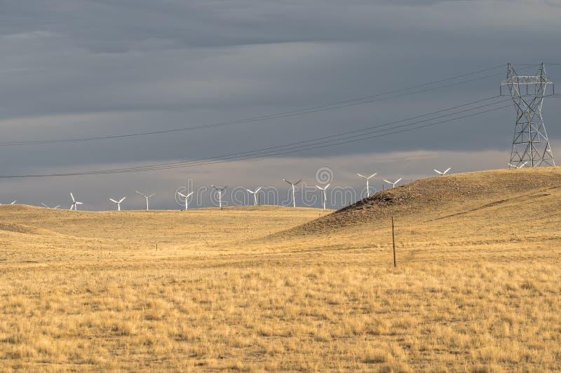 风轮机和输电线在黄色领域,草甸,在雨前 大蓝色云彩沿岸航行东部农厂爱尔兰好的天空天气白色风 美国 免版税库存照片