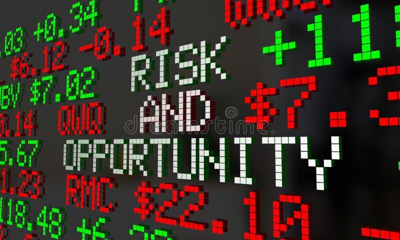 风险和机会股市获取损失投资断续装置3d 库存例证