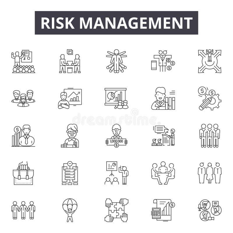 风险管理线象,标志,传染媒介集合,概述例证概念 向量例证