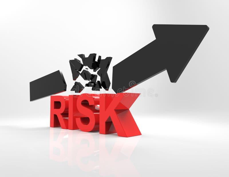 风险3d词和残破的箭头 向量例证