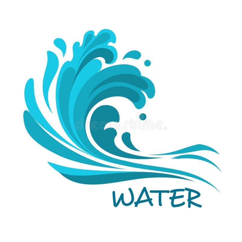 风雨如磐的海波浪抽象符号 库存例证