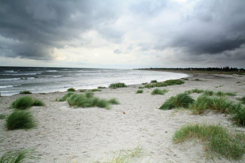 风雨如磐的海滩 库存图片