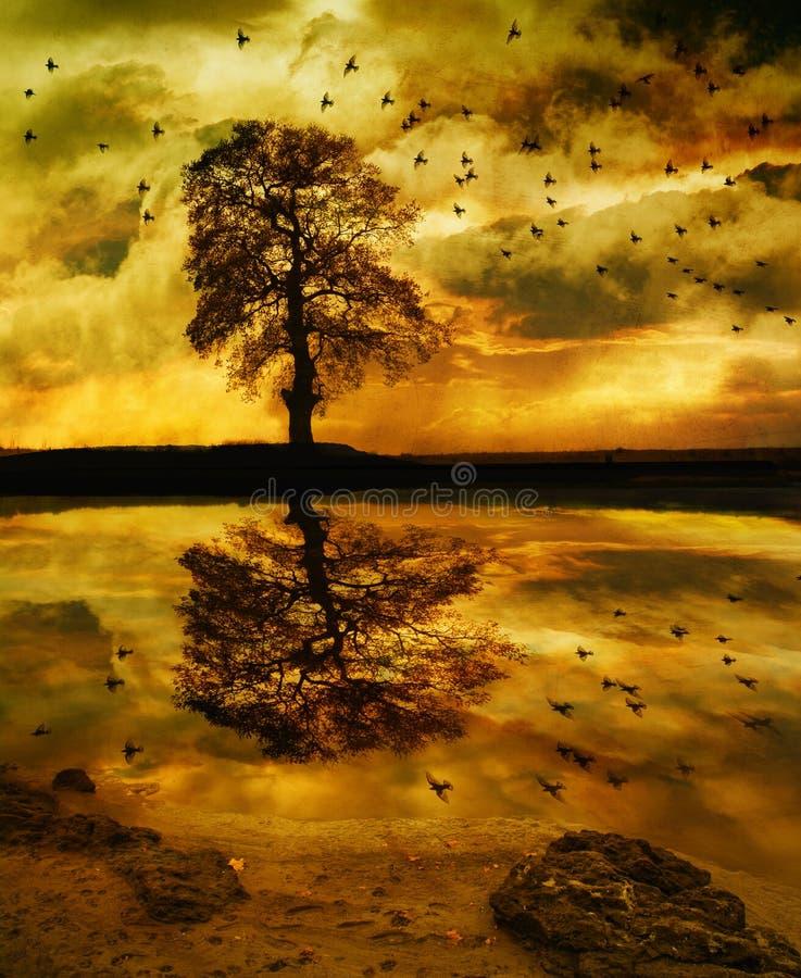 风雨如磐的湖边幻想 库存例证