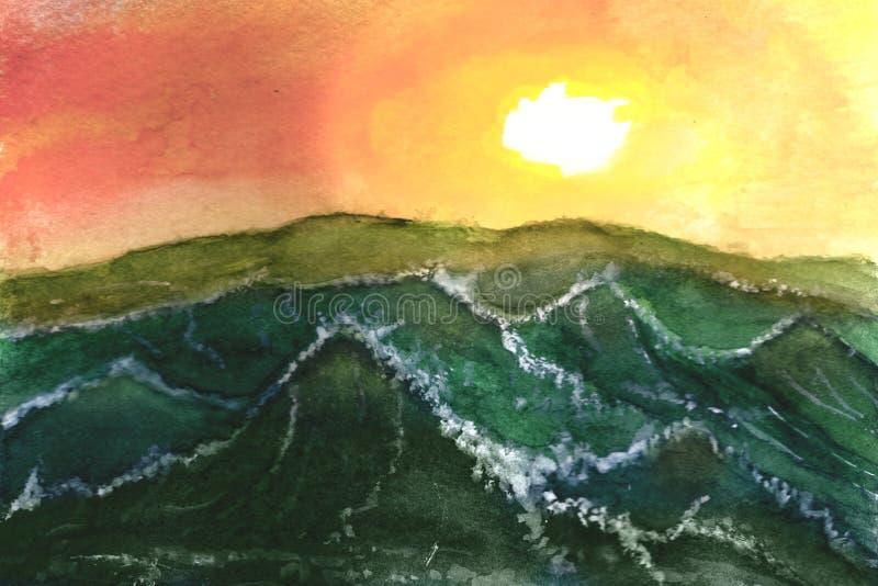 风暴在日落的海洋 库存例证