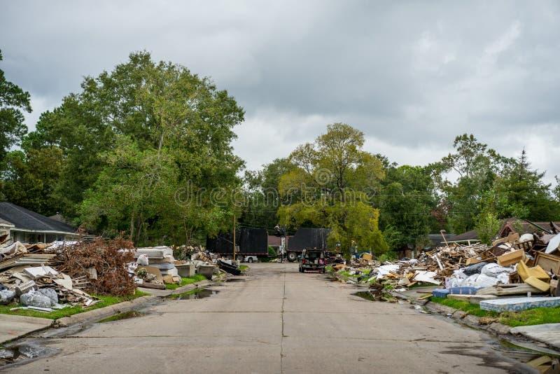 飓风哈维后果 库存图片