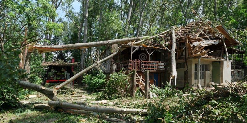 飓风损坏的房子诺维萨德,塞尔维亚-下落的树在前面和在房子 库存照片