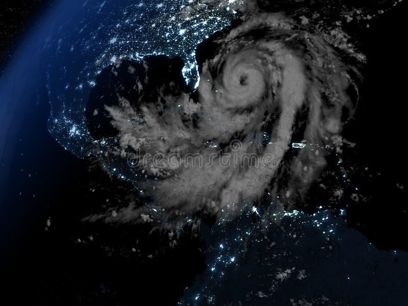 飓风接近佛罗里达的马修在晚上 皇族释放例证