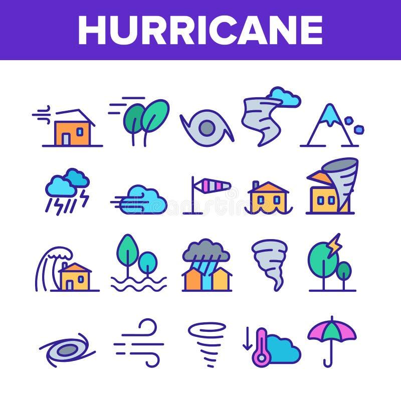 飓风自然灾害传染媒介线性象集合 向量例证