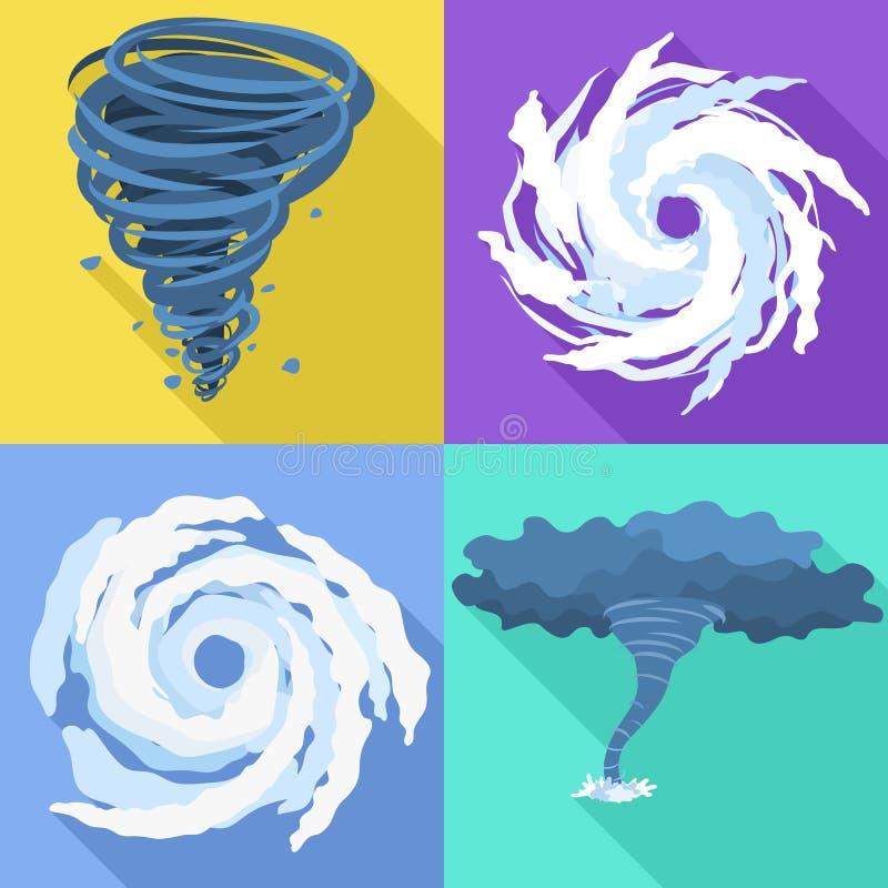 飓风象集合,平的样式 向量例证