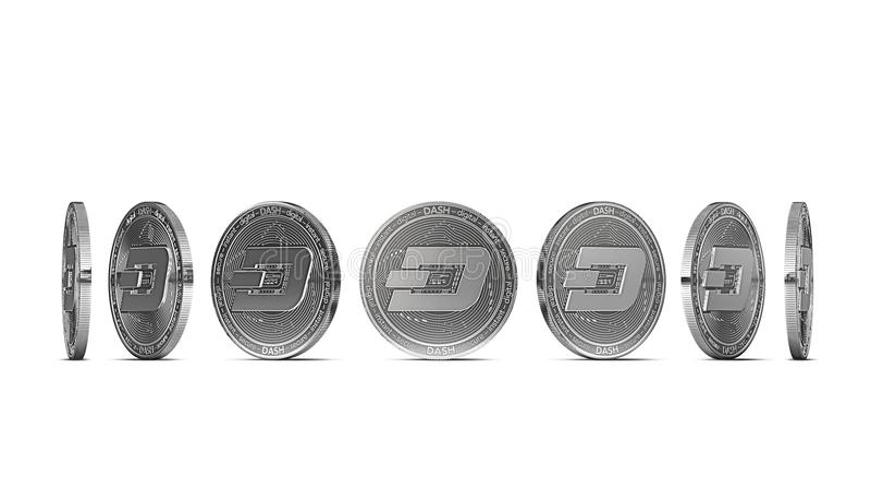 飞奔从七个角度显示的硬币隔绝在白色背景 容易删去和使用特殊硬币角度 皇族释放例证