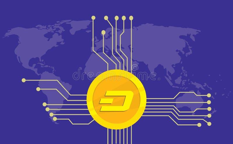飞奔cryptocurrency品牌与金黄硬币的象选择和电子点有世界地图背景 皇族释放例证