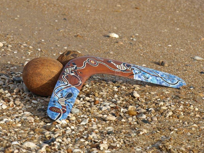 飞旋镖椰子沙子 库存照片