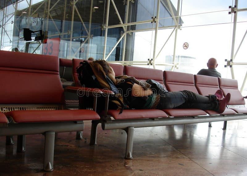 飞机乘客等待 免版税库存照片