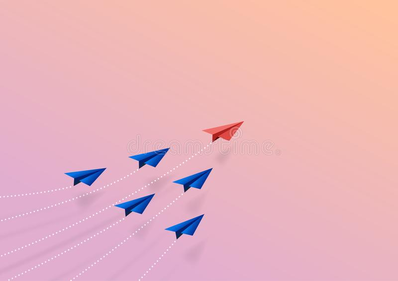 飞机企业配合创造性的概念纸艺术样式  向量例证