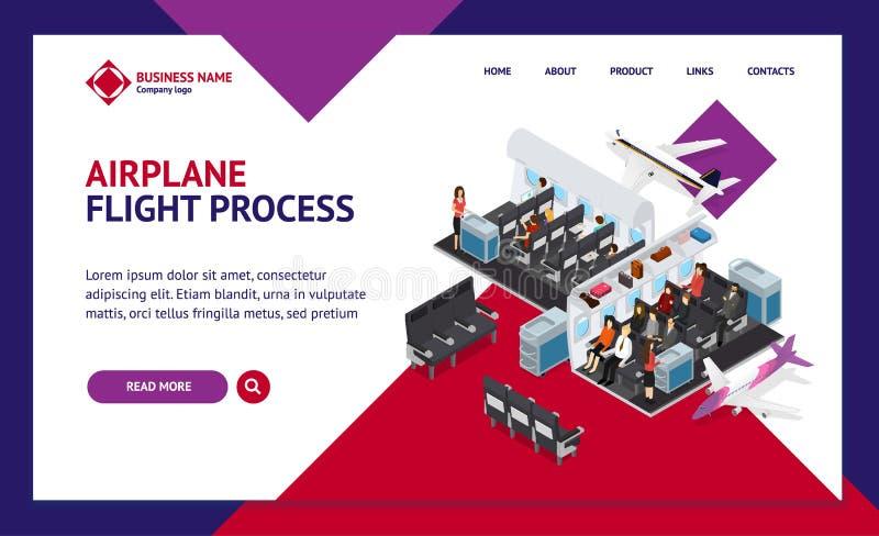 飞机内部元素有人登陆的网页模板等轴测图 ?? 库存例证
