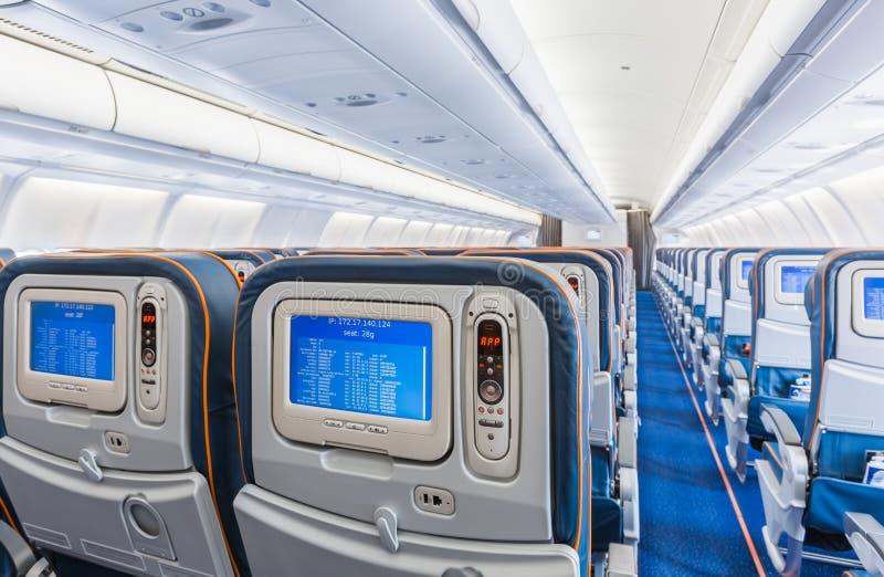 飞机内部后面看法  免版税库存照片