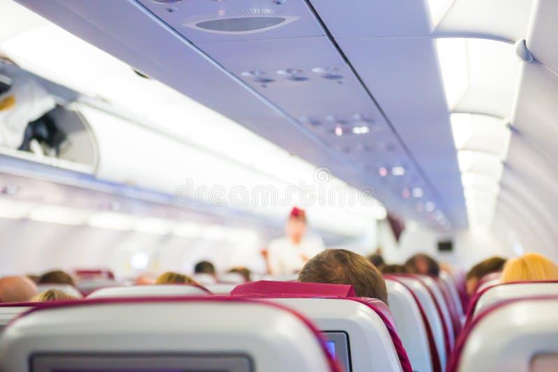 飞机内部有乘客的 库存图片
