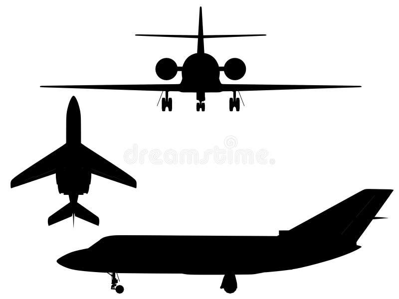 飞机剪影 库存例证