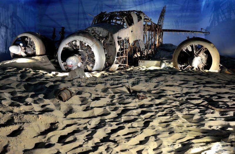 飞机博物馆被碰撞的重建飞机 库存图片