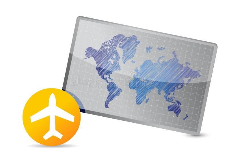 飞机和世界地图板 皇族释放例证