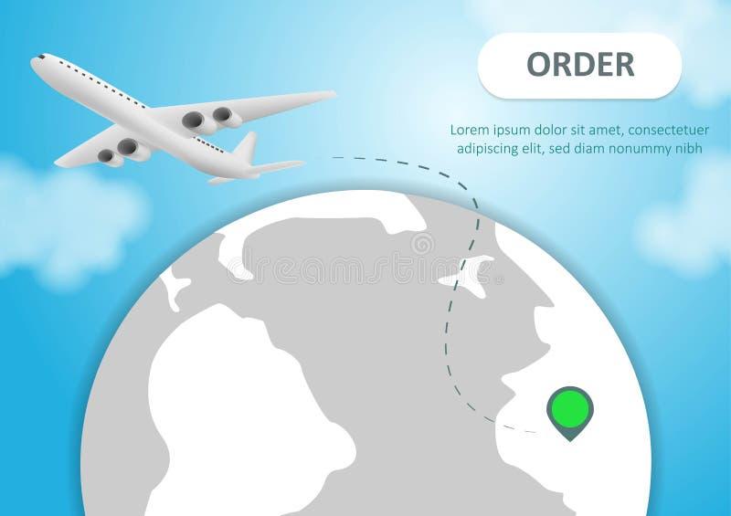 飞机和地球 飞行在与大陆和海洋的地球行星附近的飞机 r 飞行飞机,世界旅行 库存例证