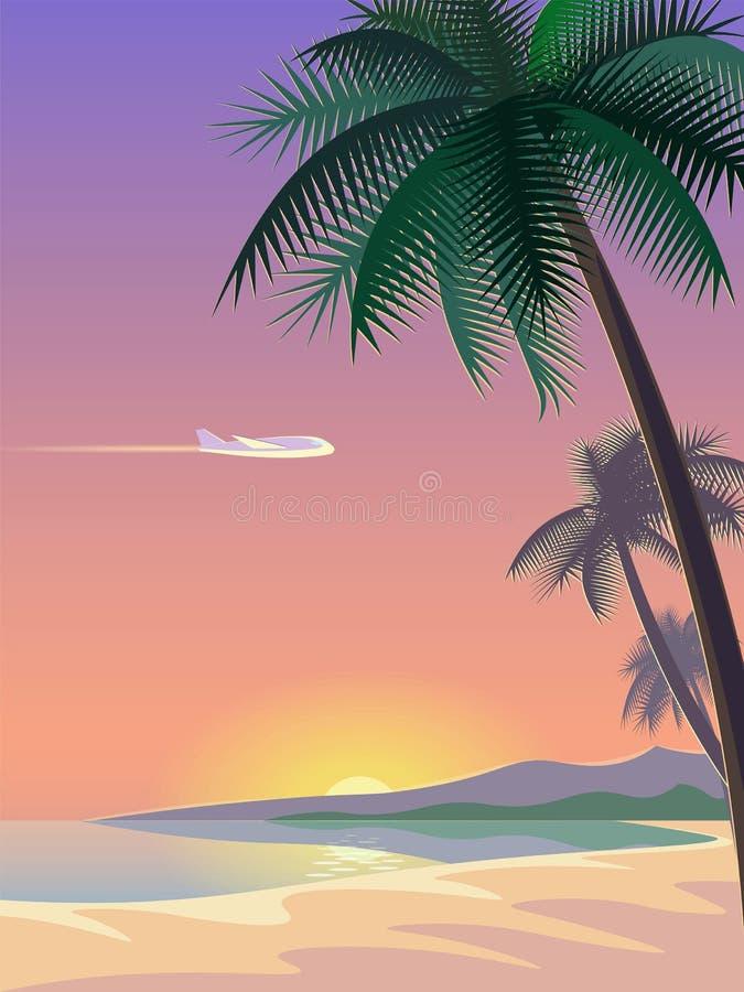 飞机和热带天堂棕榈树冲浪板 晴朗的沙子海岸海滩海海洋风景 向量背景 向量例证