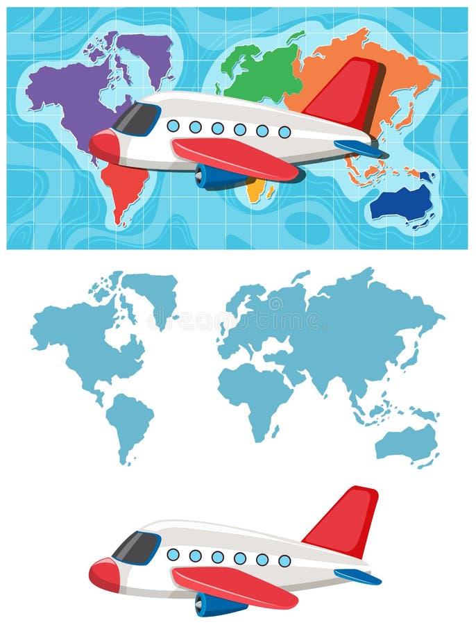 飞机和黄木樨草地图模板 库存例证