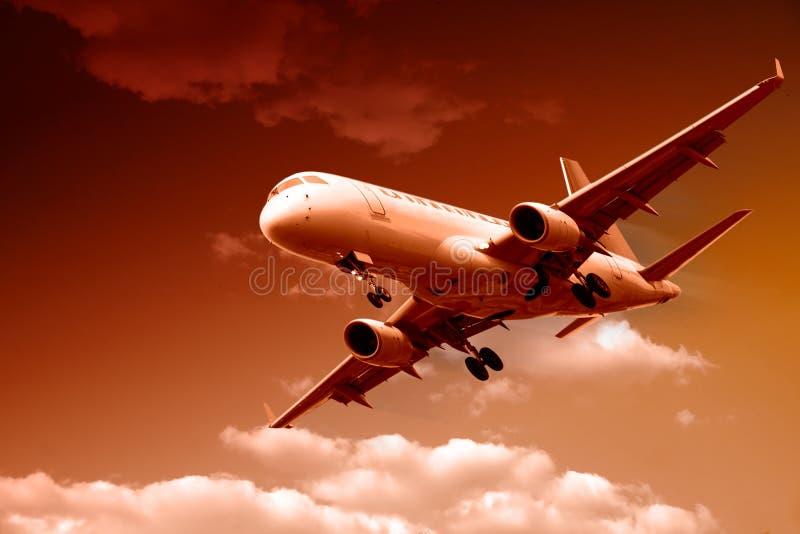 飞机喷气机着陆 库存照片