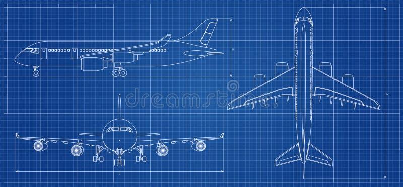 飞机图纸 在蓝色背景的概述航空器 也corel凹道例证向量 向量例证