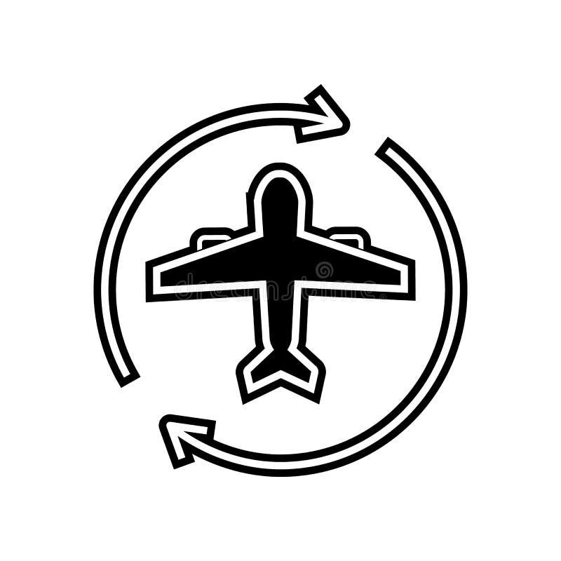 飞机圈子箭头象 后勤学的元素流动概念和网应用程序象的 纵的沟纹,网站设计的平的象和 库存例证