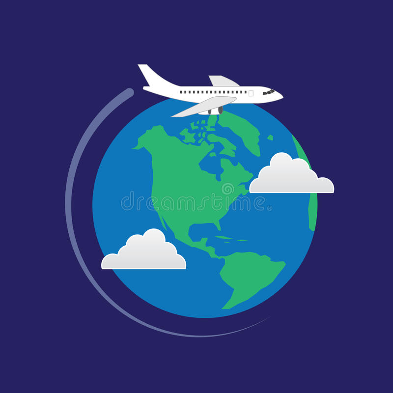 飞机在地球附近飞行 向量例证
