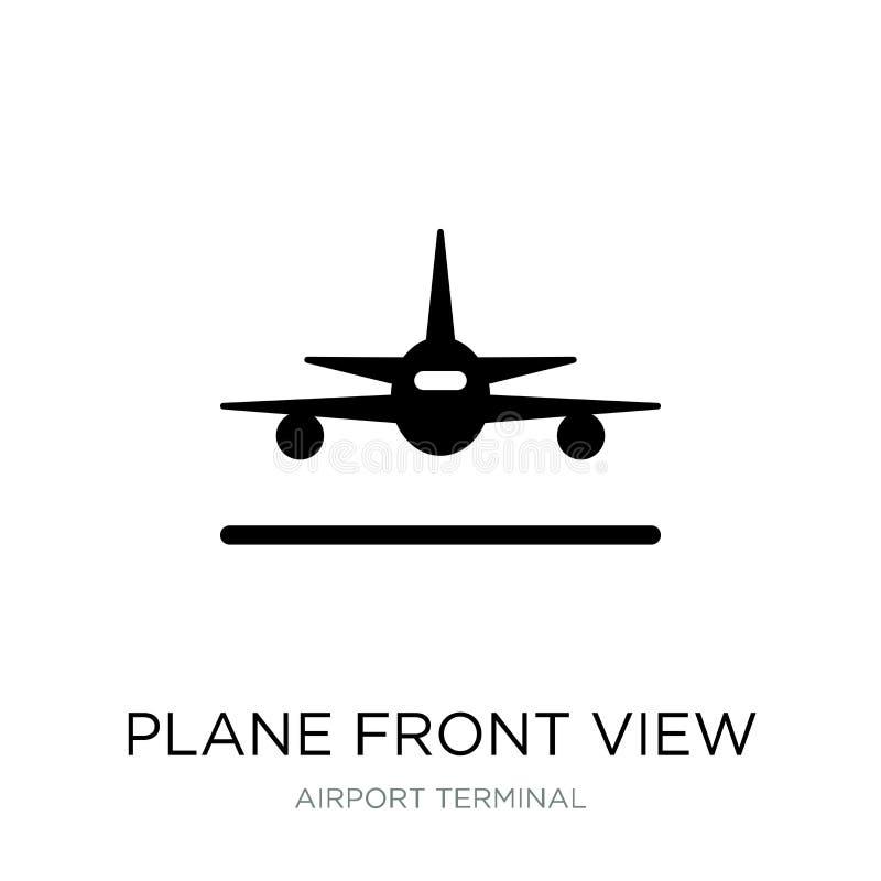 飞机在时髦设计样式的正面图象 飞机在白色背景隔绝的正面图象 飞机正面图传染媒介象 向量例证