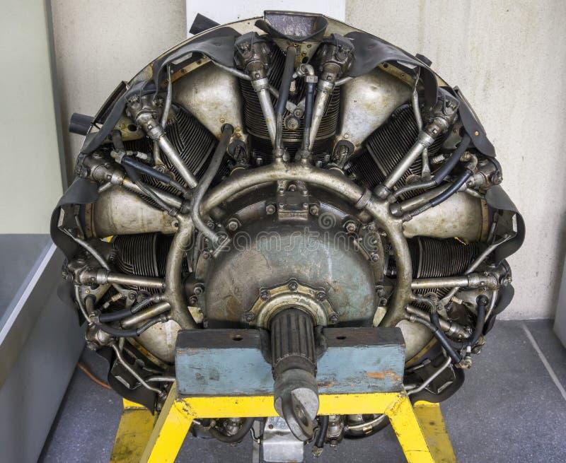 飞机在显示的星引擎 库存照片