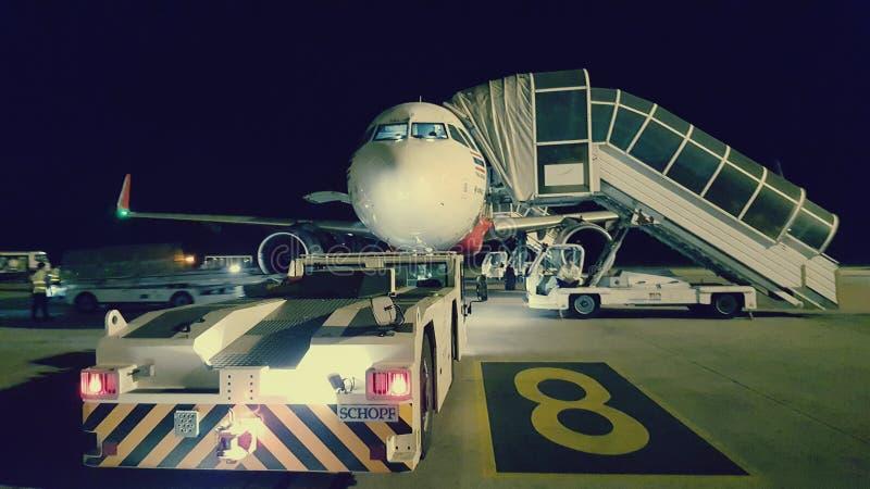 飞机在暹粒机场,柬埔寨 免版税库存照片