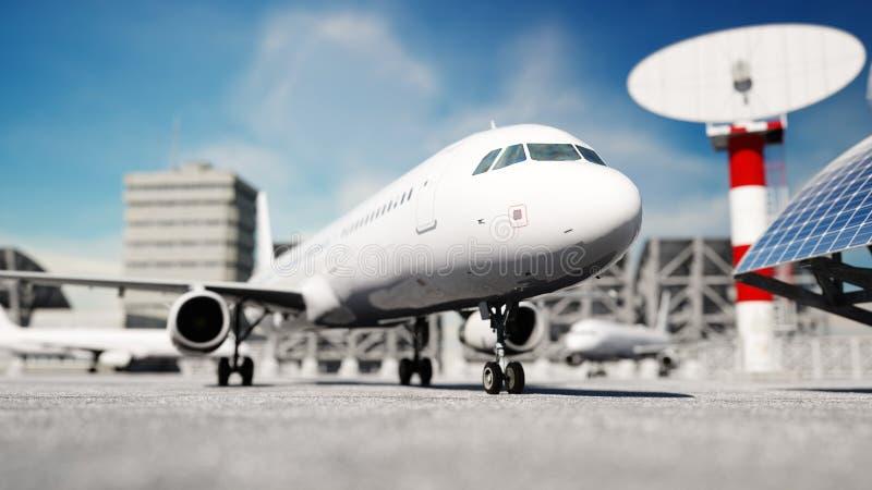 飞机在机场 白天 企业和旅行概念 3d翻译 库存例证
