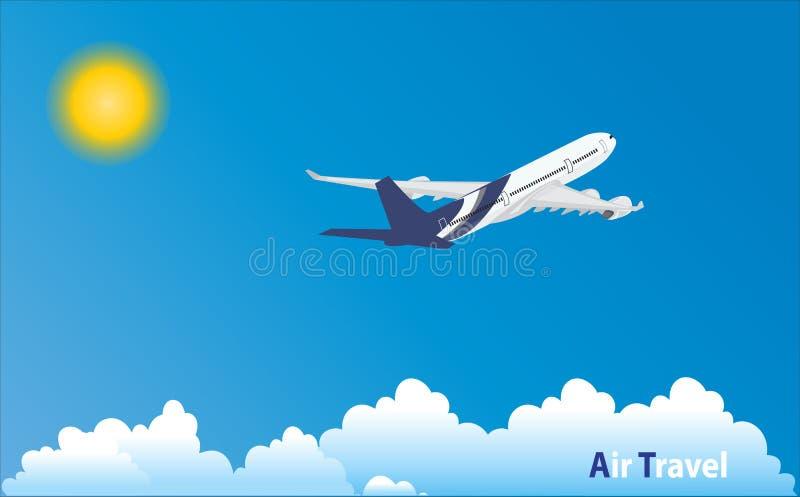 飞机在热带假日地点 向量例证