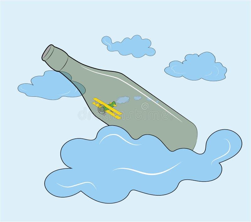 飞机在瓶飞行反对天空和云彩 也corel凹道例证向量 向量例证