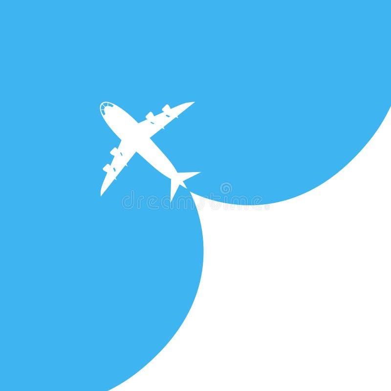 飞机在蓝色背景离开 也corel凹道例证向量 皇族释放例证