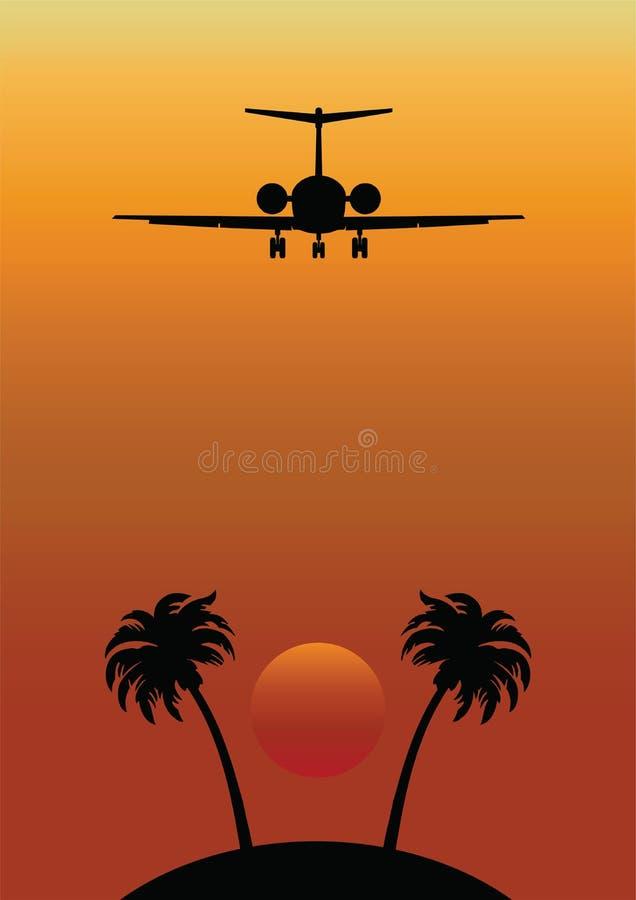 飞机在远程热带的飞行海岛 皇族释放例证
