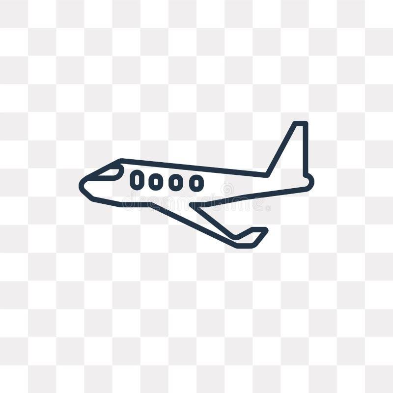 飞机在透明背景隔绝的传染媒介象,线性 皇族释放例证