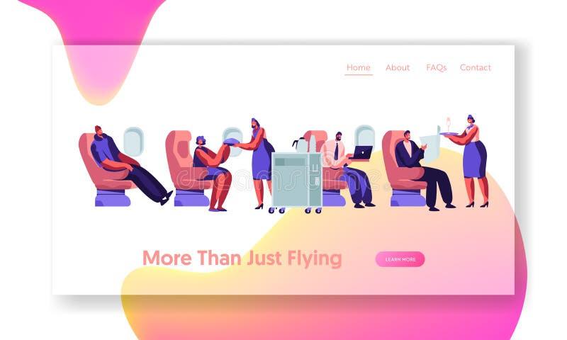 飞机在飞机的乘员组和乘客字符 给膳食的空中小姐人坐在飞机经济舱的椅子 皇族释放例证