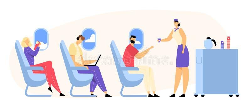 飞机在飞机的乘员组和乘客字符 给饮料的空中小姐椅子的愉快的人在经济舱 皇族释放例证