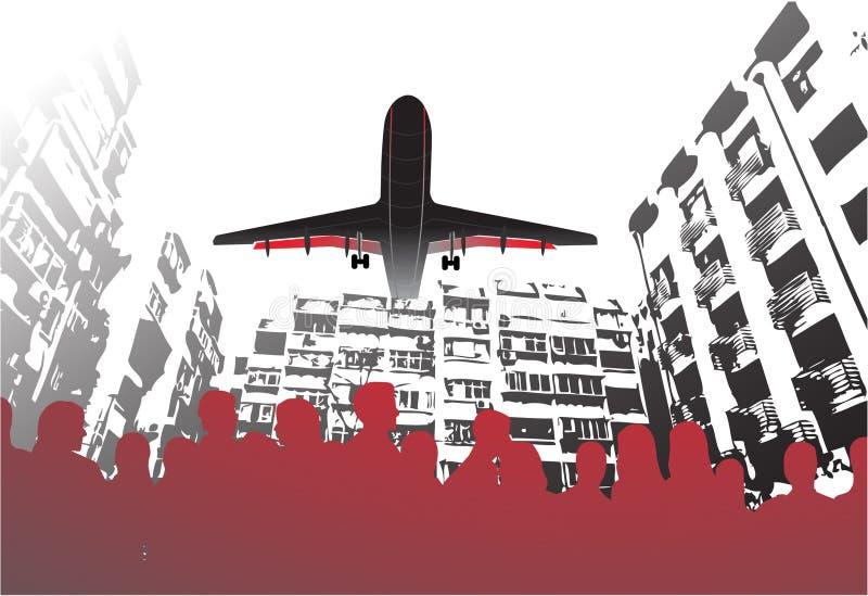 飞机城市居民 向量例证