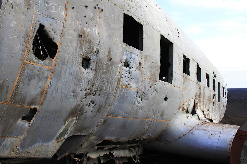 飞机失事船只,冰岛 免版税库存图片