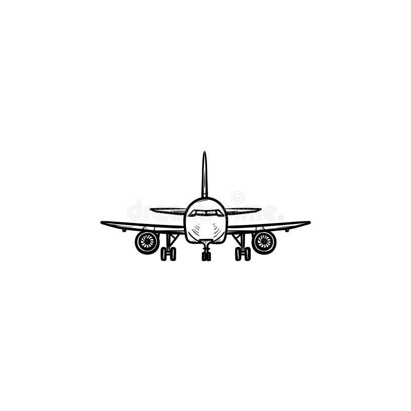 飞机手拉的概述乱画象正面图  向量例证