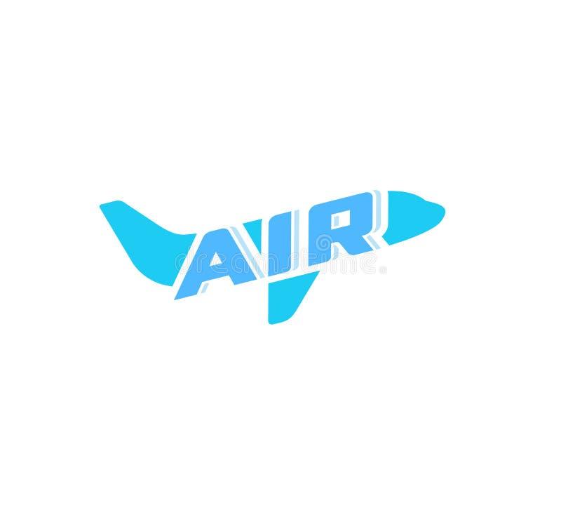 飞机抽象概念商标 在白色背景的空中飞机蓝色剪影标志 旅行航空器,班机,传染媒介 皇族释放例证