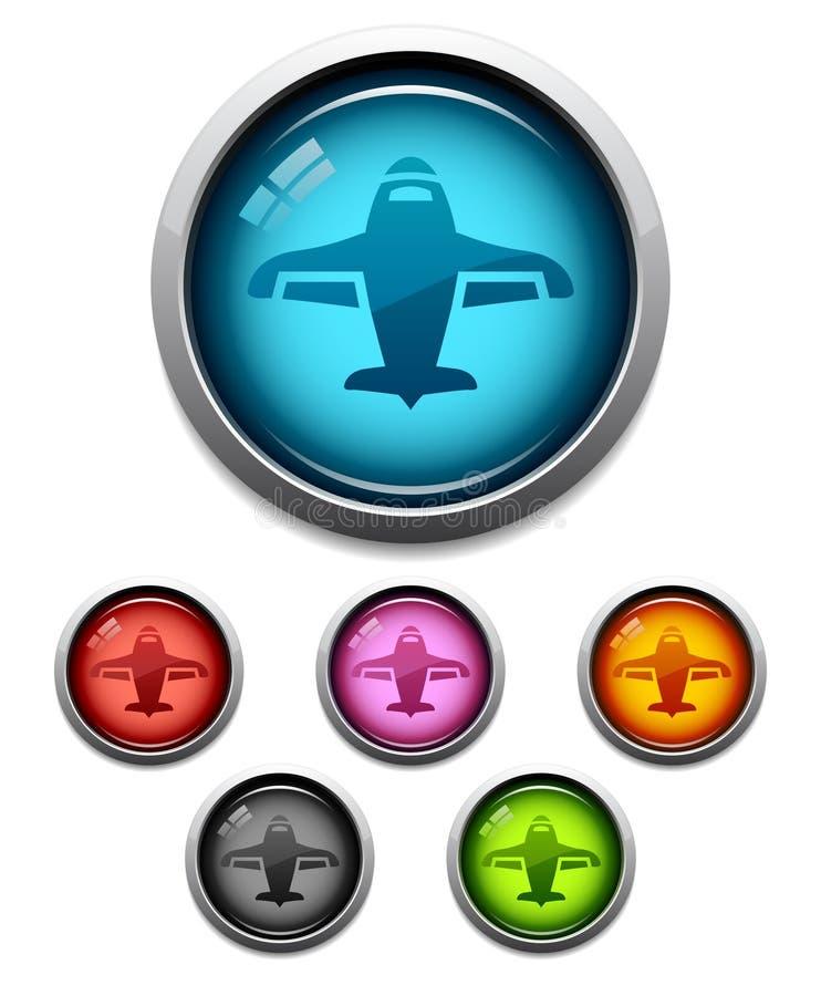 飞机按钮图标 向量例证