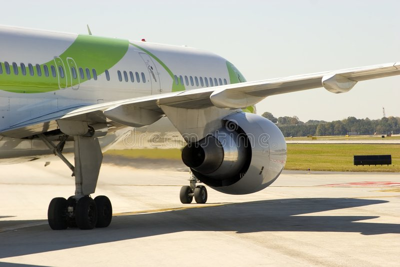 飞机接近的引擎 库存图片