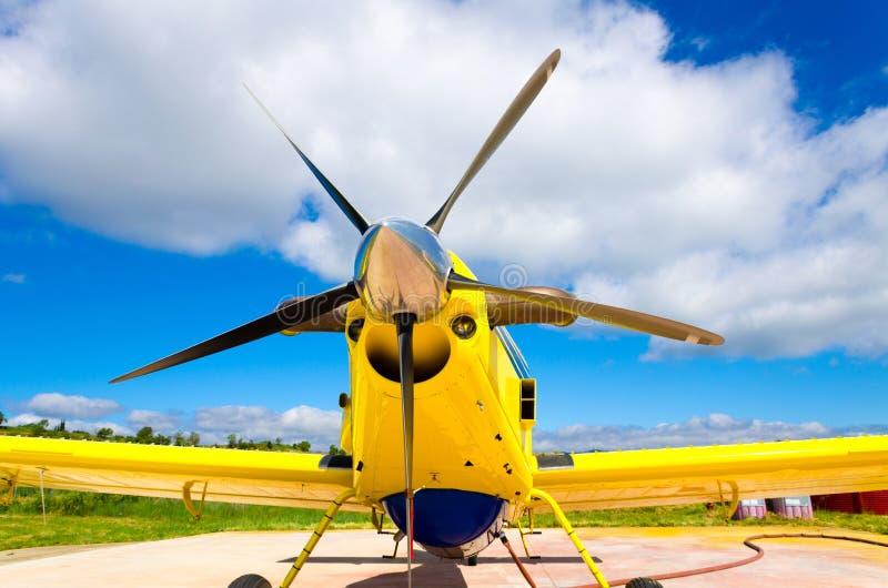 飞机推进器,有螺旋桨叶片的马达 库存图片