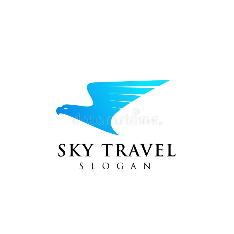 飞机旅行公司与老鹰顶头例证设计的商标设计 库存例证